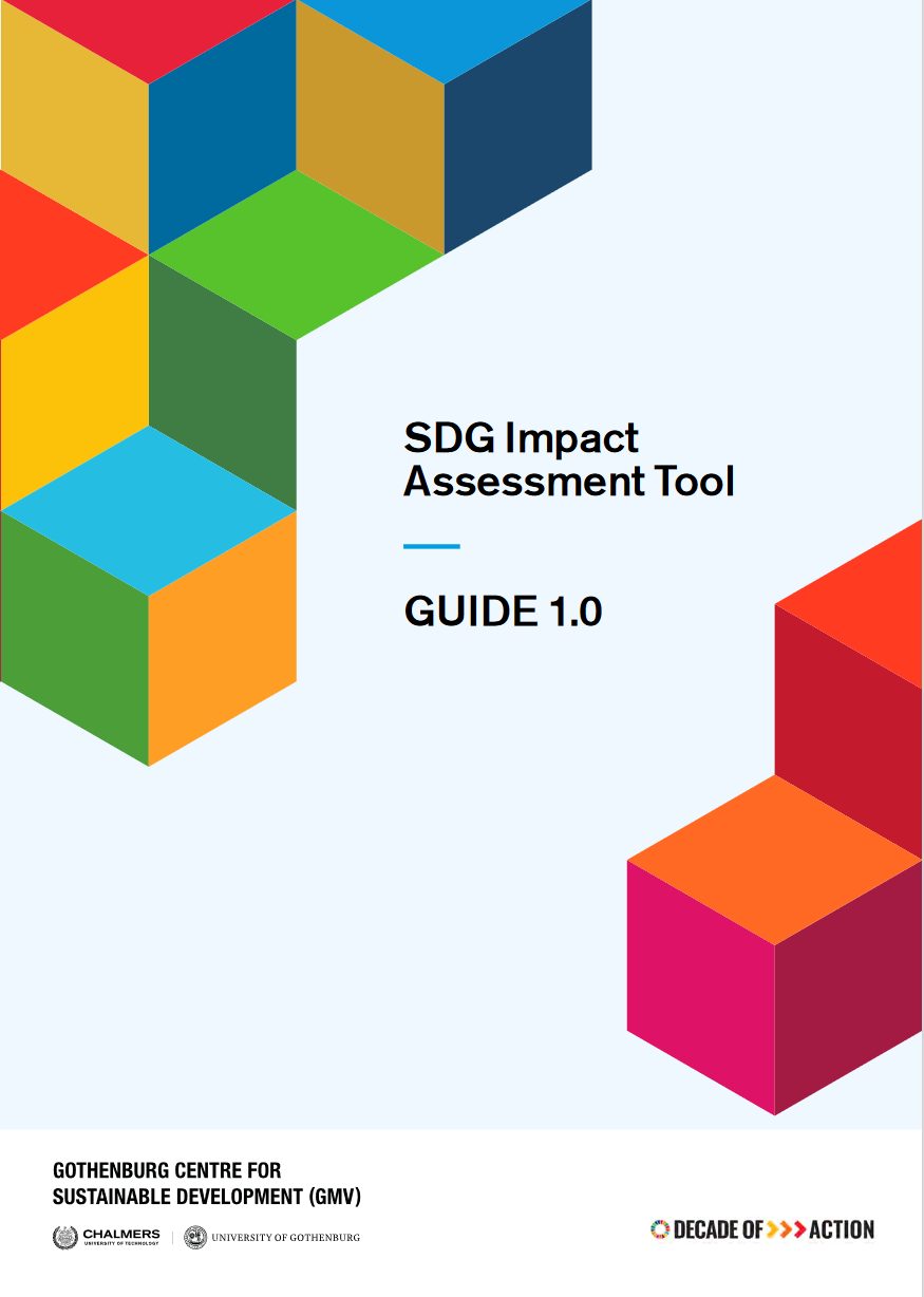 Front cover of the SDG Impact Assessment Tool - Guide 1.0